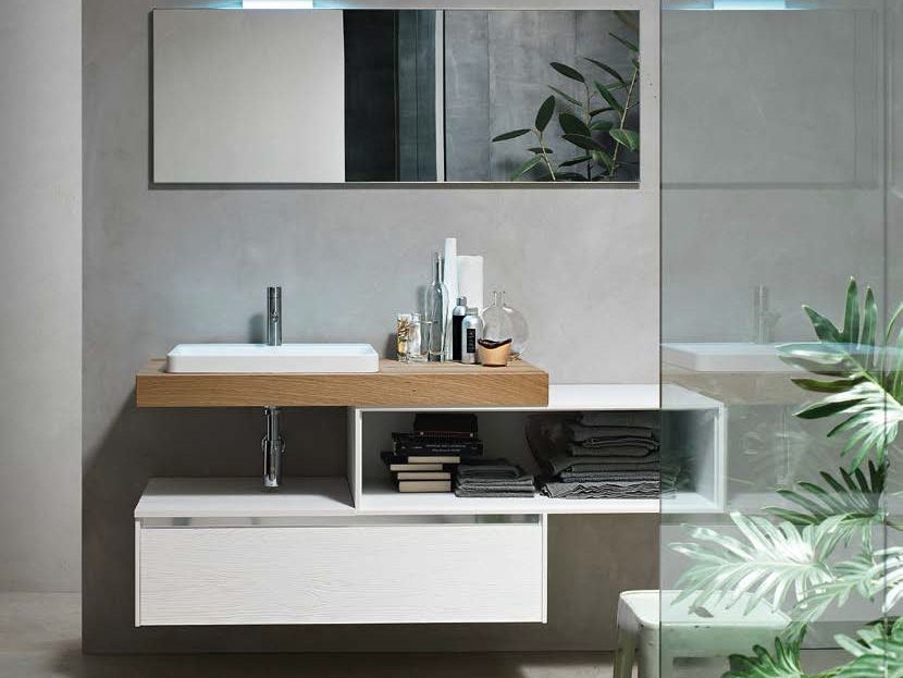 Single wooden vanity unit E.GÒ - COMPOSITION 43 - Arcom