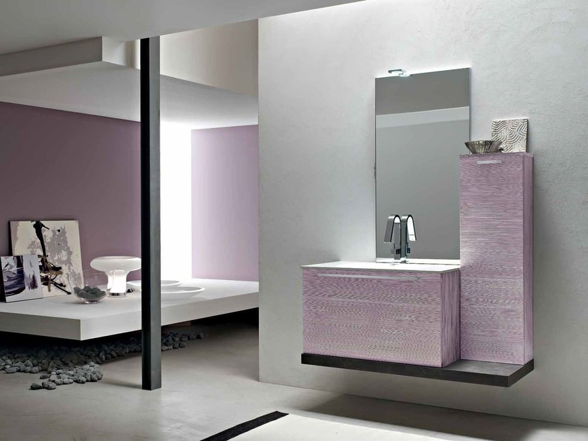 Single wooden vanity unit E.LY - COMPOSITION 44 by Arcom