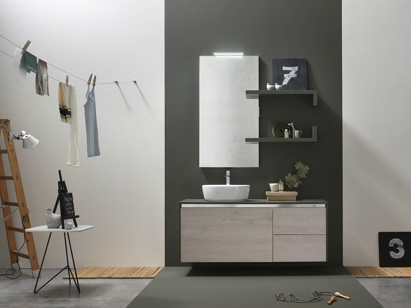 Lacquered single vanity unit E.GÒ - COMPOSITION 51 - Arcom
