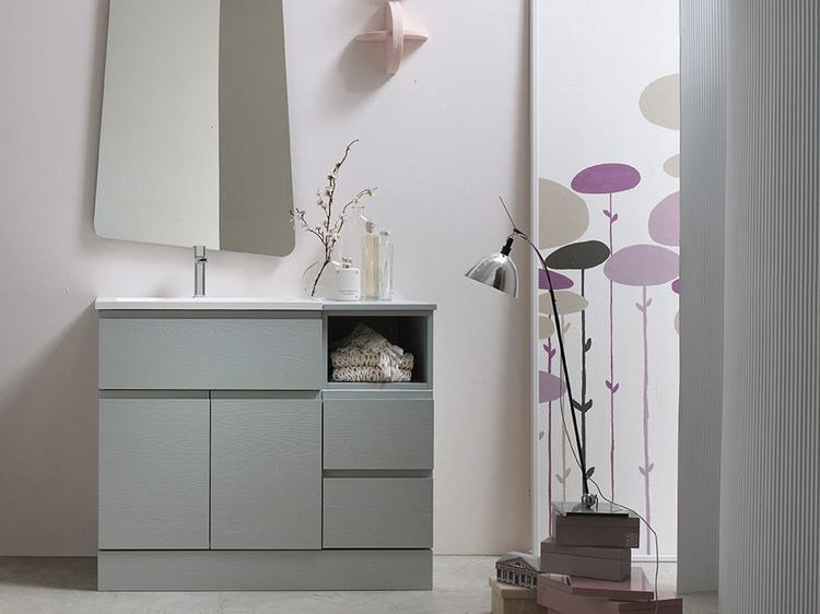 Lacquered single vanity unit E.LY - COMPOSITION 58 - Arcom