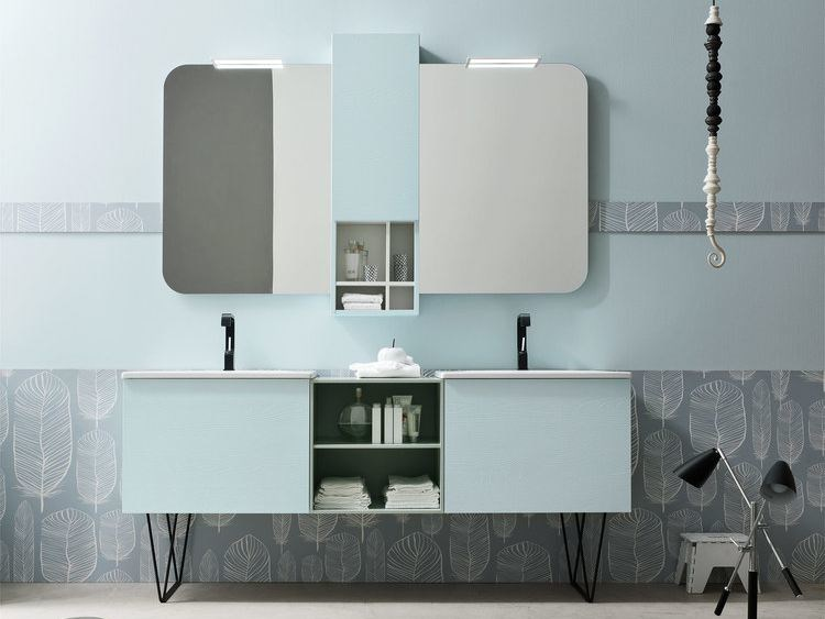 Double lacquered vanity unit E.LY - COMPOSITION 59 - Arcom