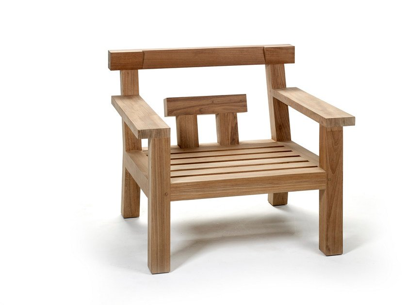 Teak garden armchair with armrests NARA | Easy chair - ROYAL BOTANIA