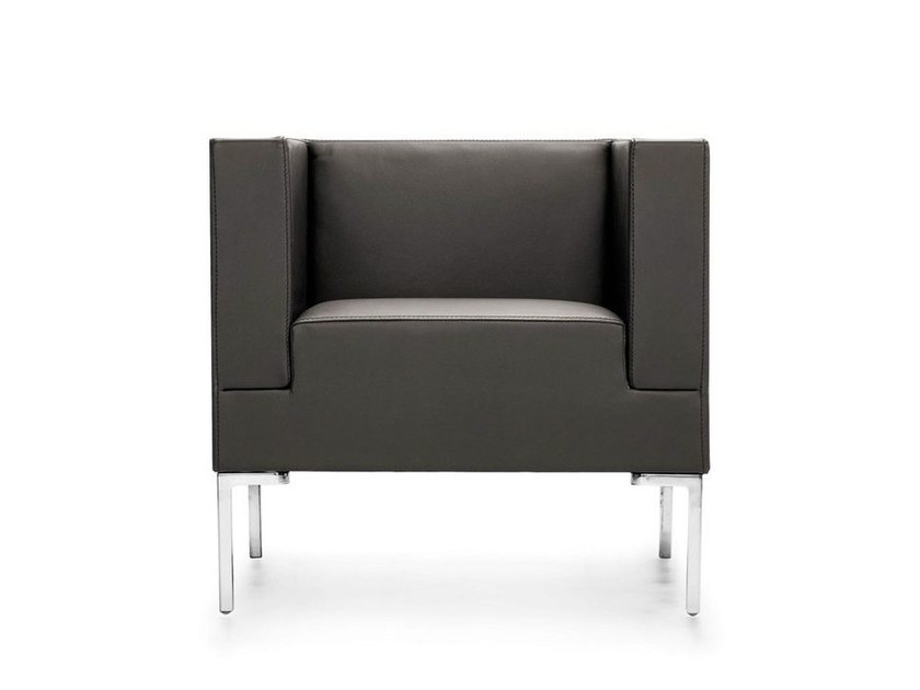 Upholstered guest chair with armrests ICE | Armchair - Sinetica Industries