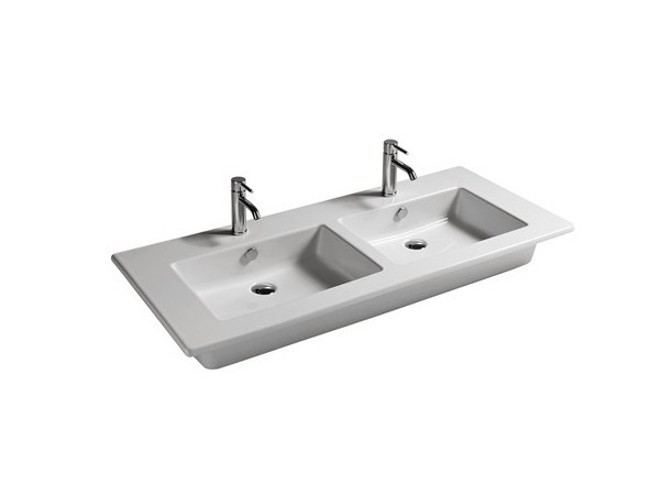 Double rectangular ceramic washbasin EDEN - 121 CM | Double washbasin - GALASSIA