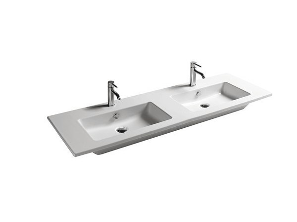 Double rectangular ceramic washbasin EDEN - 141 CM | Double washbasin - GALASSIA