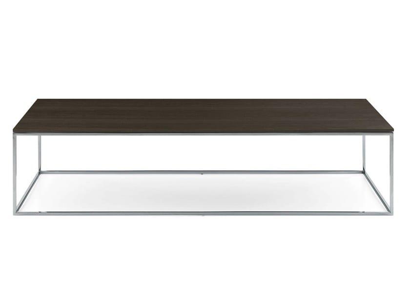Tavolino basso rettangolare in legno impiallacciato da salotto EDGE | Tavolino in legno impiallacciato - Poliform