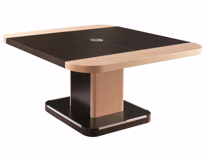 Square meeting table with cable management EDOC   Square meeting table by ARTOM by Ultom