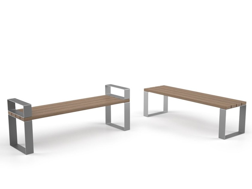Backless steel and wood Bench EIGHT | Backless Bench by LAB23