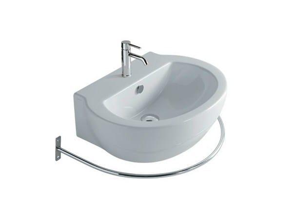 Wall-mounted ceramic washbasin with towel rail EL1 62 | Washbasin - GALASSIA