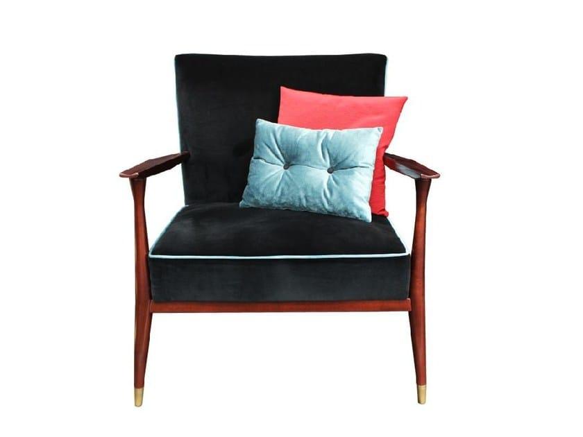 Upholstered velvet armchair with armrests ELDRED - Ottiu