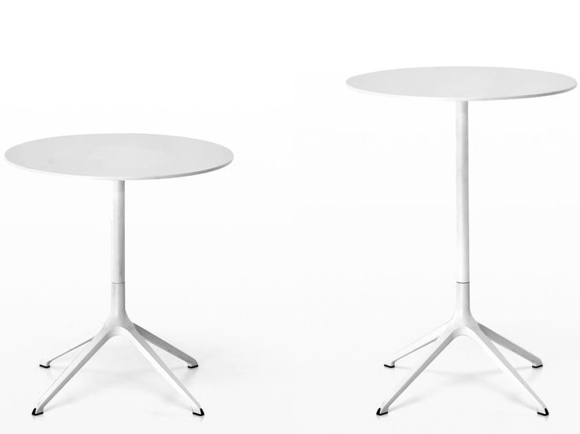 Drop-leaf round die cast aluminium table ELEPHANT | Round table - Kristalia