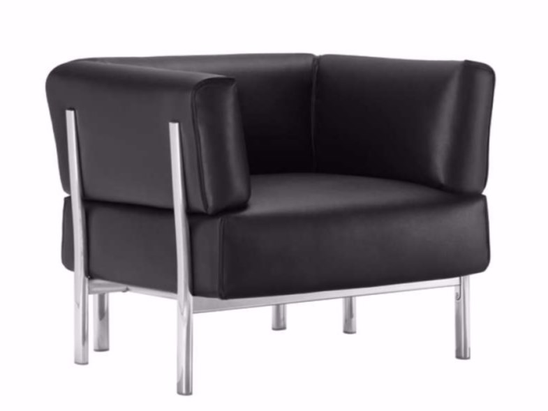 Leather armchair with armrests ELEVEN - 860 | Leather armchair - Alias