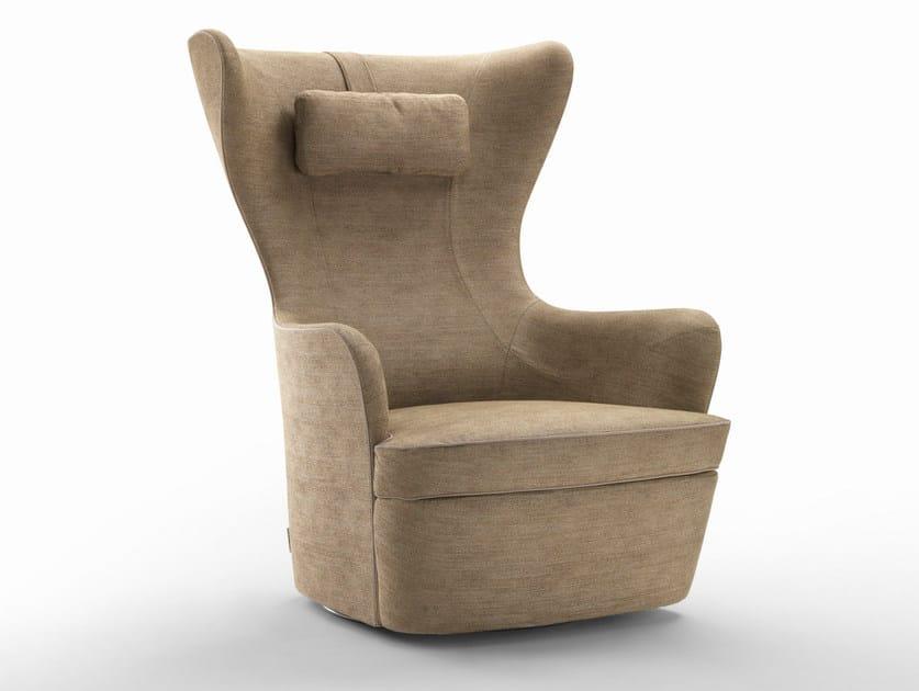 Swivel armchair with headrest ELISABETH - FLEXFORM