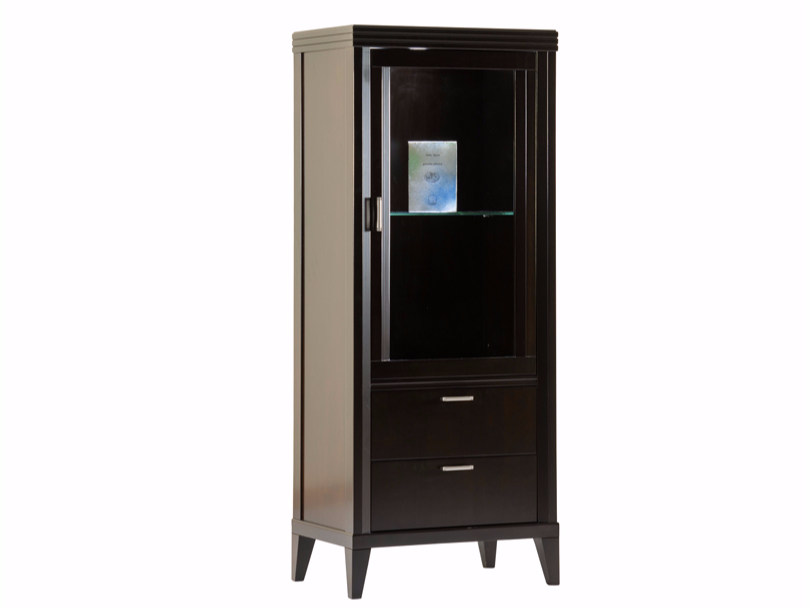 Wooden display cabinet with integrated lighting ELIZA | Wooden display cabinet by SELVA