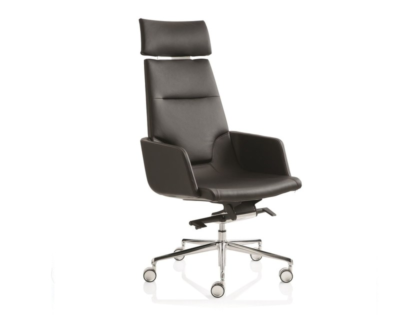 Height-adjustable executive chair with 5-spoke base with armrests ELLE 02 | High-back executive chair - Emmegi