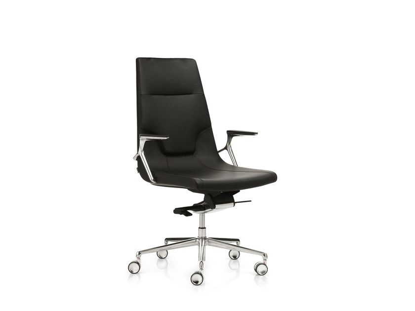 High-back executive chair with 5-spoke base with armrests ELLE 02 | Swivel executive chair by Emmegi