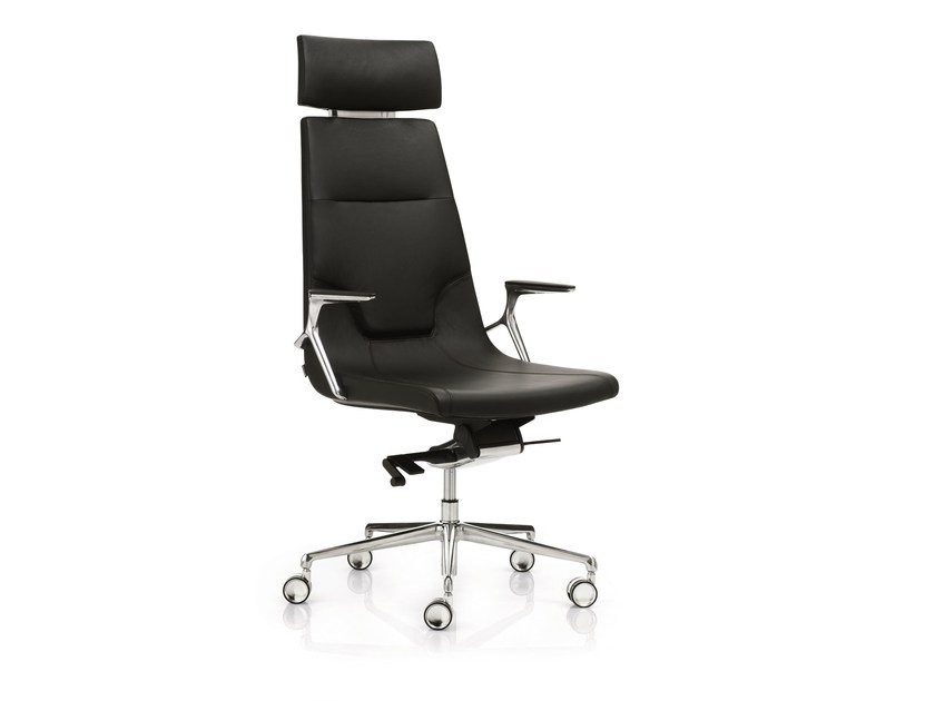 High-back executive chair with 5-spoke base with headrest ELLE 02 | Executive chair with headrest - Emmegi
