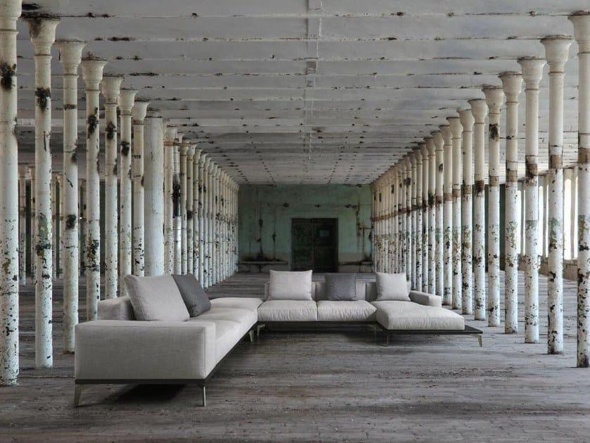 Corner fabric sofa with chaise longue ELLE | Sofa with chaise longue by Papadatos