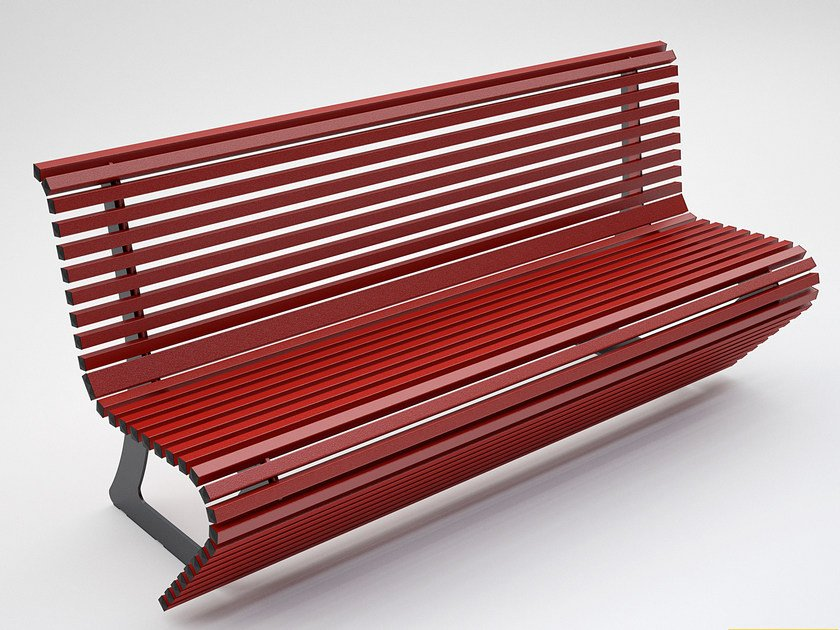 Lacquered steel Bench with back ELODIE - CITYSì