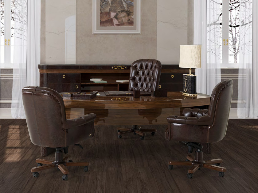 Oval executive desk with drawers CITY | Office desk with drawers - Formitalia Group