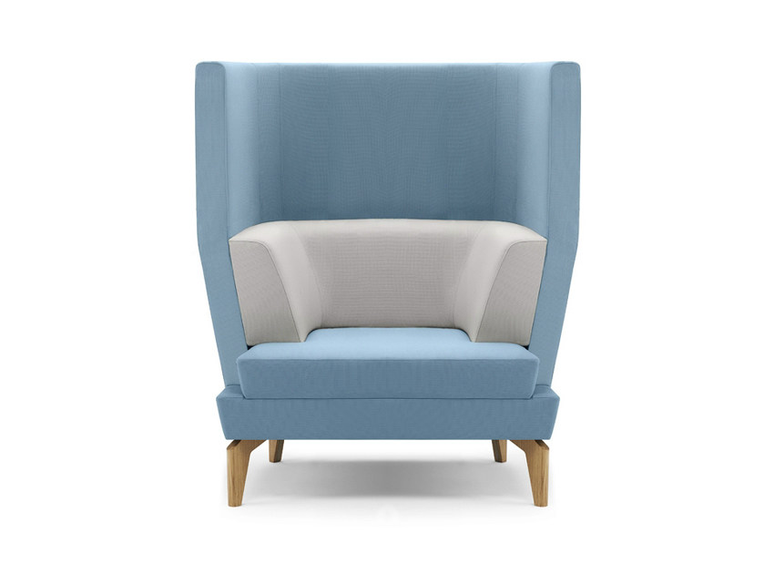 Upholstered high-back armchair with armrests ENTENTE | High-back armchair - Boss Design