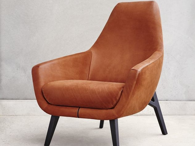 Leather armchair with armrests ENZO | Leather armchair - Montis