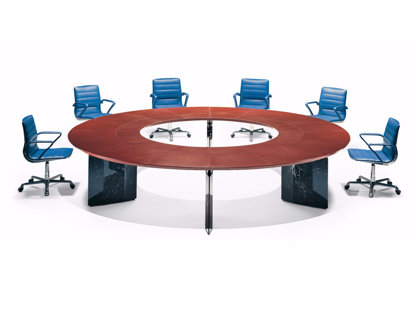 Round tanned leather meeting table EPICO | Round meeting table by Polflex