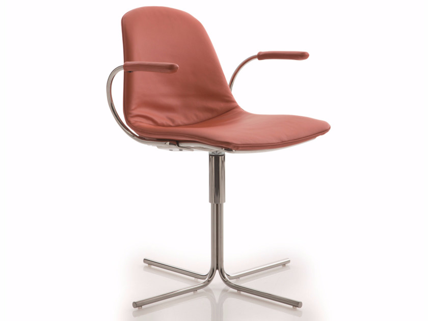 Upholstered fabric chair with 4-spoke base with armrests EPOCA | Chair with 4-spoke base - Luxy