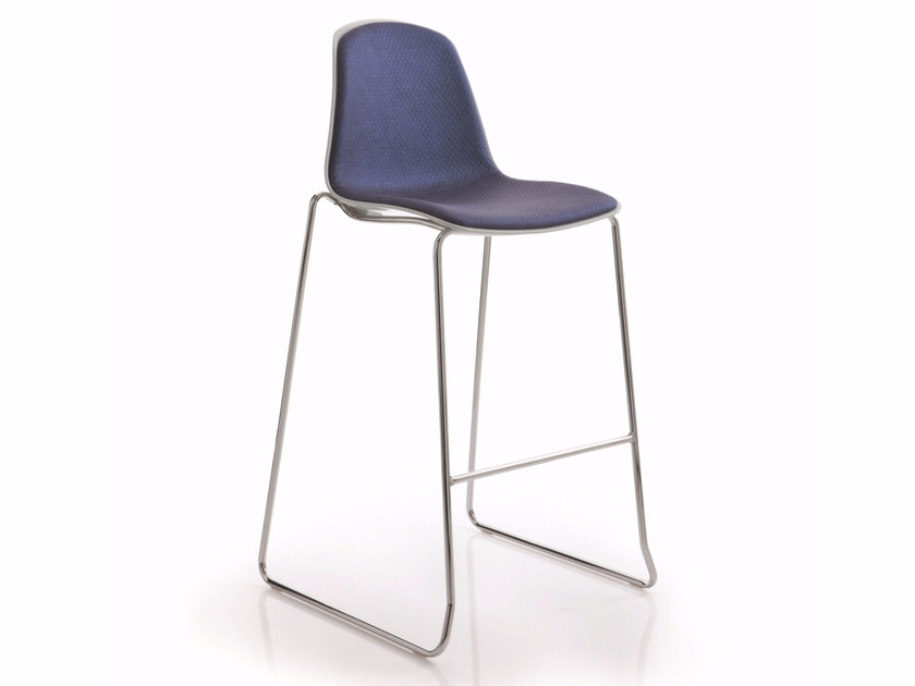 Sled base upholstered counter stool EPOCA | Counter stool - Luxy