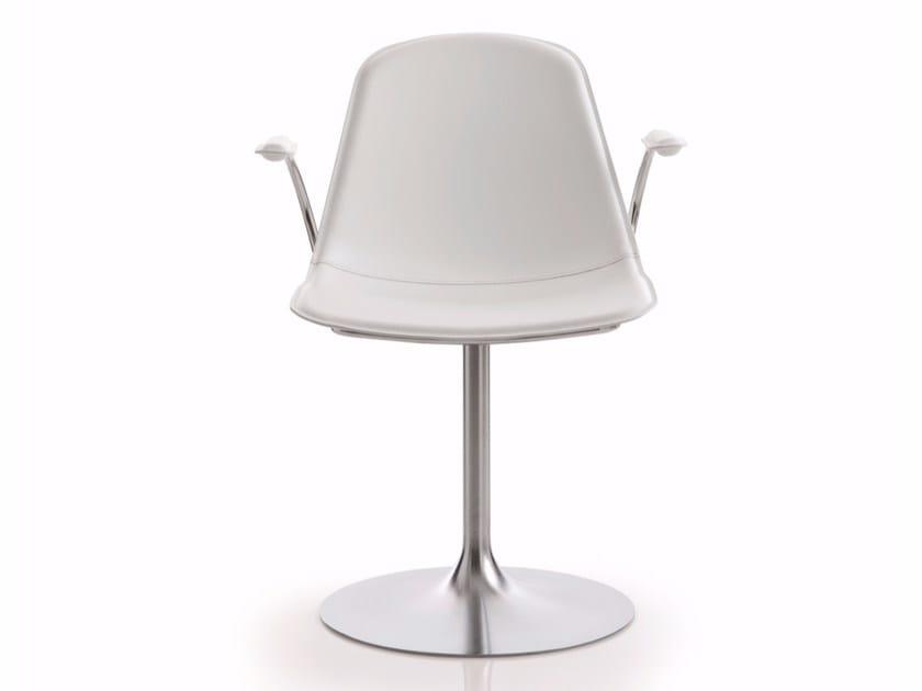 Swivel upholstered leather chair EPOCA | Swivel chair - Luxy
