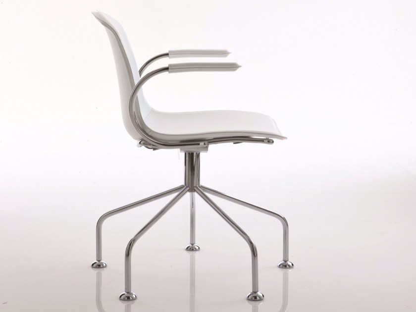 Upholstered trestle-based leather chair with armrests EPOCA | Trestle-based chair - Luxy