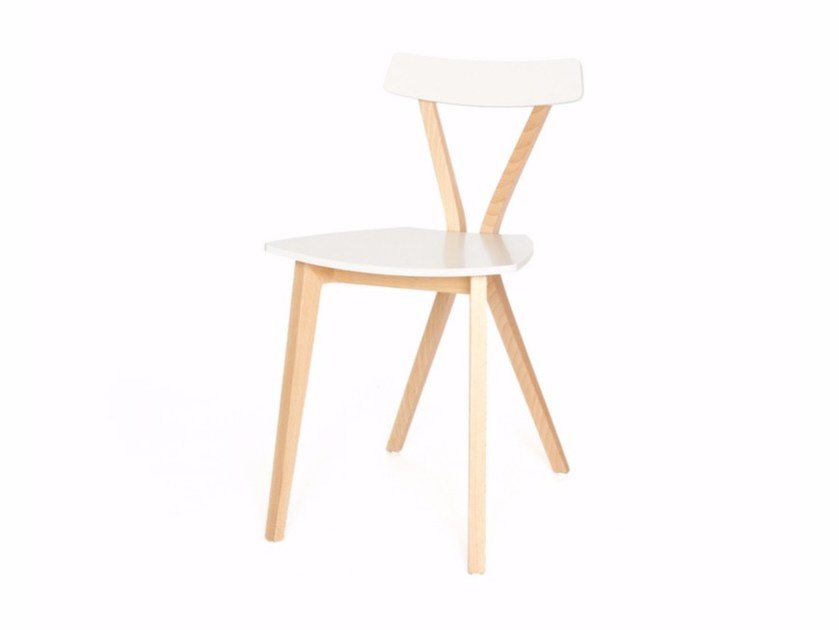 Lacquered wooden chair EQUIS S - Z-Editions