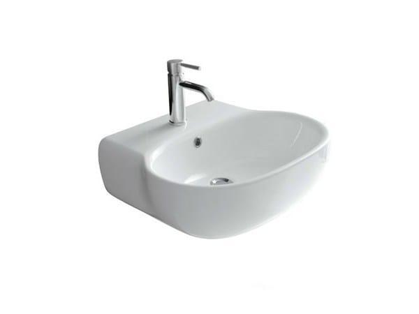 Wall-mounted ceramic washbasin ERGO - 55 CM | Wall-mounted washbasin - GALASSIA