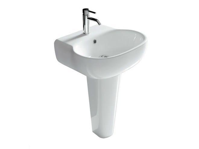 Pedestal ceramic washbasin ERGO - 55 CM | Pedestal washbasin - GALASSIA