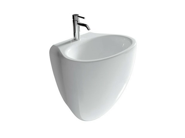 Wall-mounted ceramic washbasin ERGO - 55 CM | Washbasin - GALASSIA