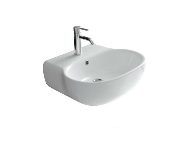 Wall-mounted ceramic washbasin ERGO - 70 CM   Wall-mounted washbasin - GALASSIA
