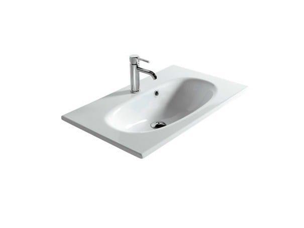 Rectangular ceramic washbasin ERGO - 75 CM - GALASSIA