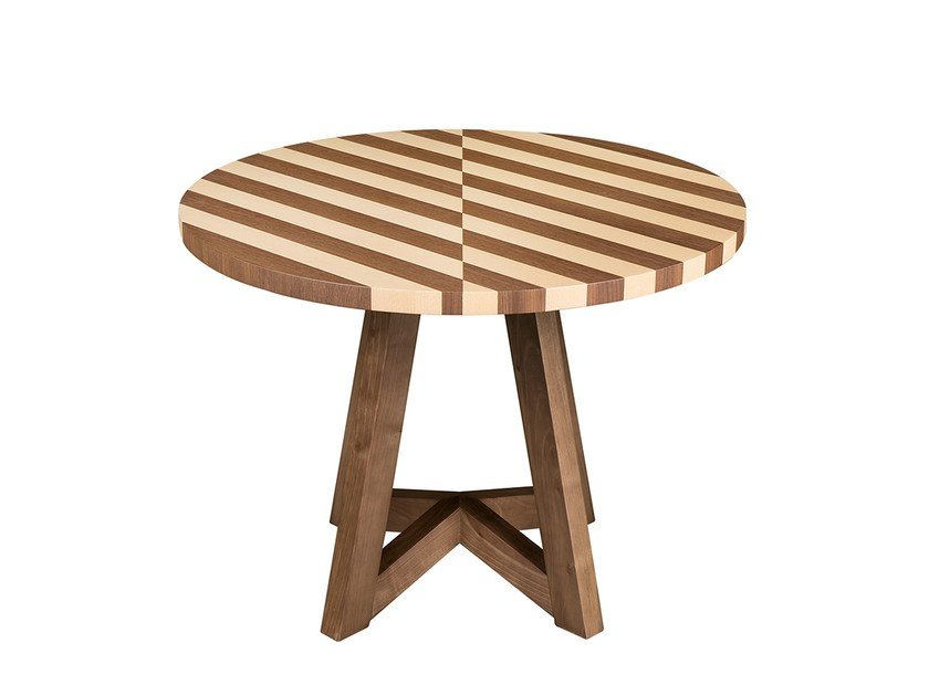 Round wooden side table ESTRELA | Round coffee table - Branco sobre Branco