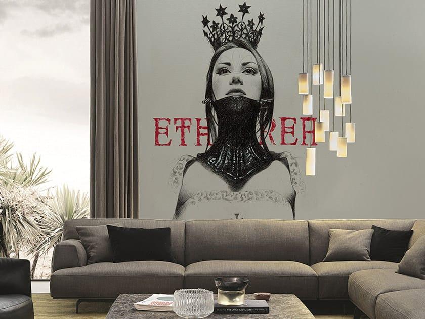 Carta da parati panoramica ETHEREA II - Inkiostro Bianco