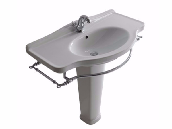 Ceramic washbasin with towel rail ETHOS 95 | Washbasin by GALASSIA
