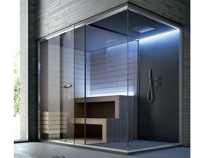 Sauna con doccia per cromoterapia ethos sauna per for Doccia sauna