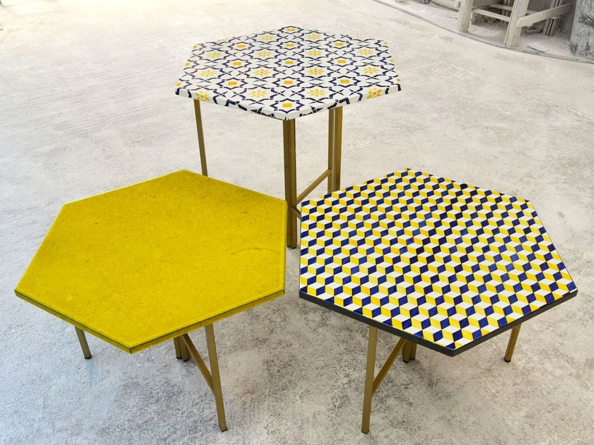 Hexagonal lava stone coffee table exagonTable by Made a Mano
