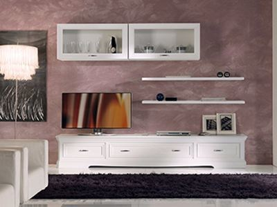 Solid wood TV wall system EXCLUSIVE | Wall-mounted storage wall by Arvestyle