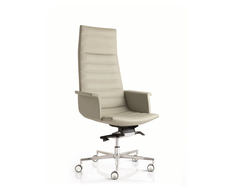 High-back leather executive chair with 5-spoke base with armrests KEY | Executive chair with 5-spoke base by Emmegi