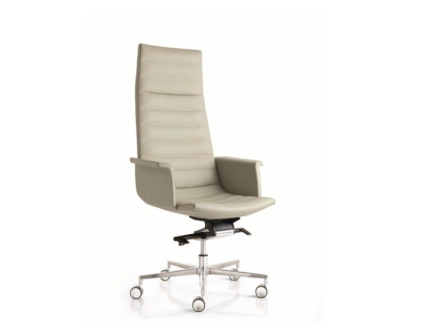 High-back leather executive chair with 5-spoke base with armrests KEY | Executive chair with 5-spoke base - Emmegi