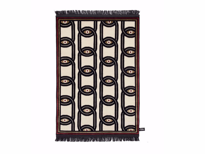 Rectangular wool rug with geometric shapes EYES IN CHAINS - cc-tapis ®