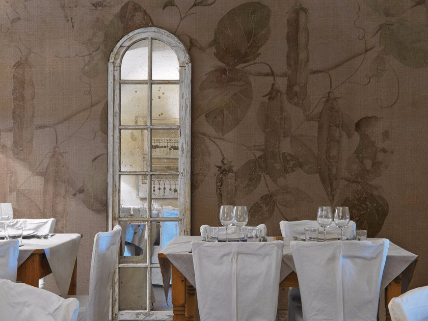 Panoramic wallpaper with floral pattern FABA by Inkiostro Bianco