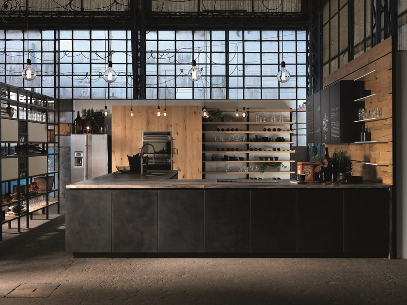 Kitchen with peninsula without handles FACTORY | Kitchen with peninsula by Aster Cucine