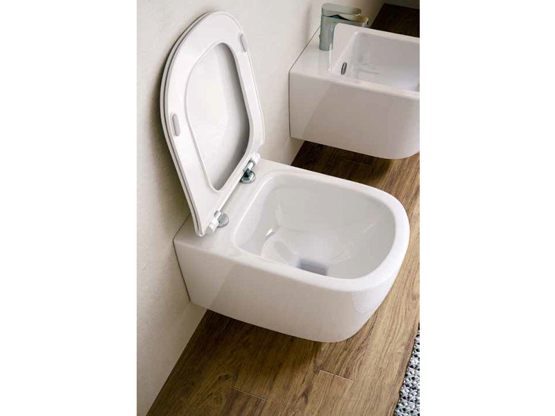 Wall-hung ceramic toilet FASTER RIMLESS   Wall-hung toilet by Hidra Ceramica