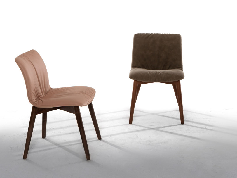 Upholstered leather chair FELIX by Tonin Casa